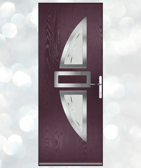Mulberry Coloured Door - Tacoma Glass Panel