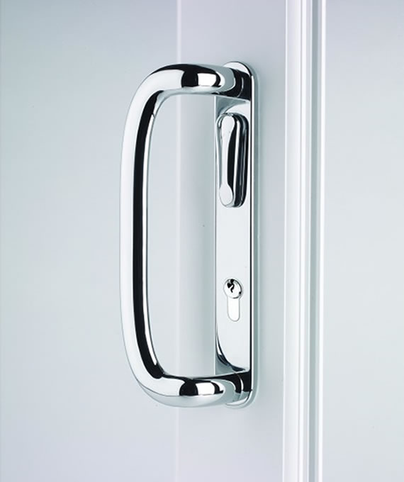 Chrome lockable patio door handle