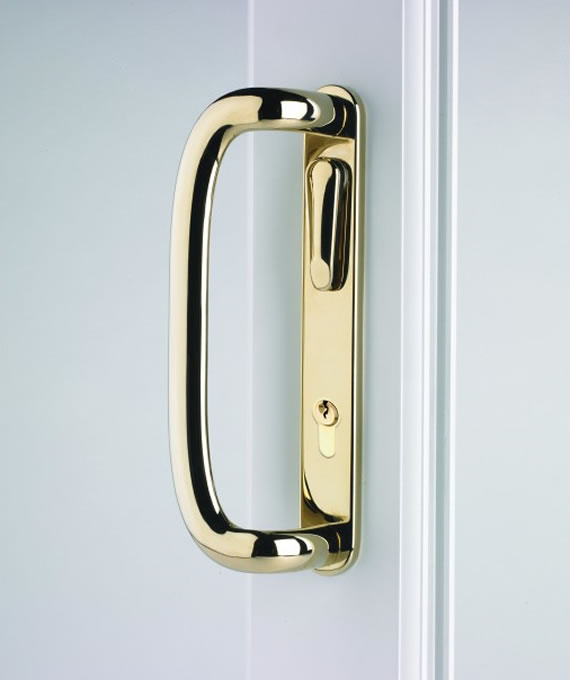 Gold lockable patio door handle